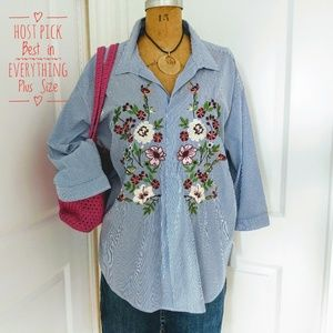 Gibson Latimer Embroidered Pullover Top Size 2X